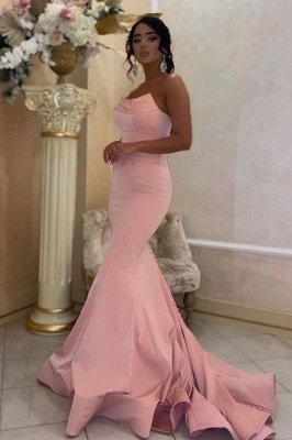 Sexy Strapless Pink Mermaid Slim Prom Dress Sleeveless Long Evening Party Dress