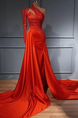 Sexy Red One Shoulder Mermaid Evening Party Dress High Neck Formal Dress with Detachable Train