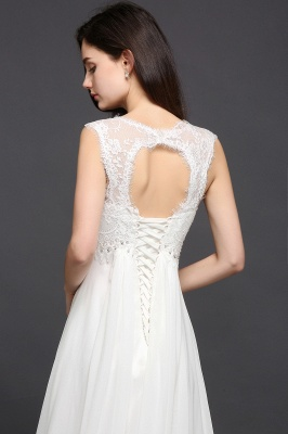 AYLA | A-line Sweetheart Chiffon White Evening Dress With Lace_6