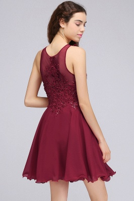 CARLEE | A-line Jewel Short Chiffon Burgundy Homecoming Dresses with Lace Appliques_5