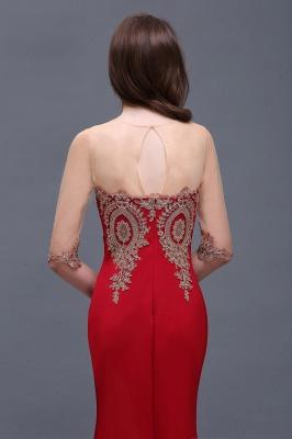 BELLA   Sheath Round Neck Floor-Length Burgundy Prom Dresses With Applique_7