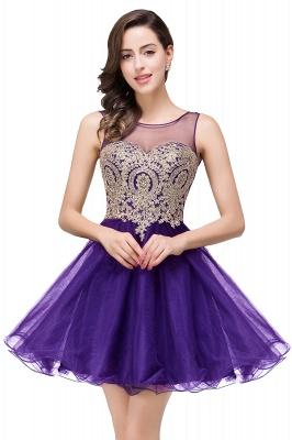 ESTRELLA | A-line Crew Short Sleeveless Appliques Prom Dress_2