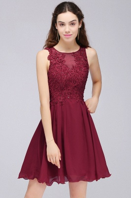 CARLEE | A-line Jewel Short Chiffon Burgundy Homecoming Dresses with Lace Appliques_4