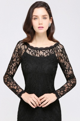 Sexy Black Lace Long Sleeves Mermaid Prom Dresses_12