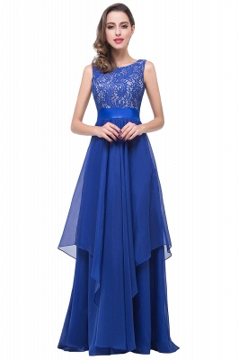 ADDISON | A-line Floor-length Chiffon Evening Dress with Lace_3