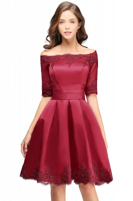 ELSIE | A-line Off-shoulder Half Sleeves Short Lace Appliques Prom Dresses_3