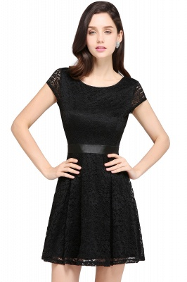 ARMANI | A-line Scoop Black Lace Cheap Homecoming Dress with Sash_6