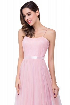 Simple Spaghetti-Straps Ruffles A-Line Pink Open-Back Evening Dress_9