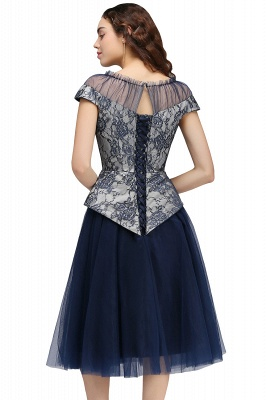 BRIDGET | A-Line Round Neck Knee-Length Tulle Lace Dark Navy Homecoming Dresses_3