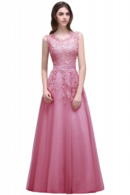 Red A-line Beaded Long Bateau-Neck Lace Party Dresses_1