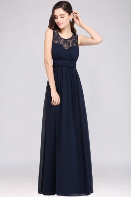 CHELSEA | Sheath Round neck Floor-length Navy Blue Prom Dress