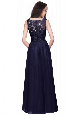 ELYSE | A-line Sleeveless Crew Floor-length Lace Top Chiffon Prom Dresses_11