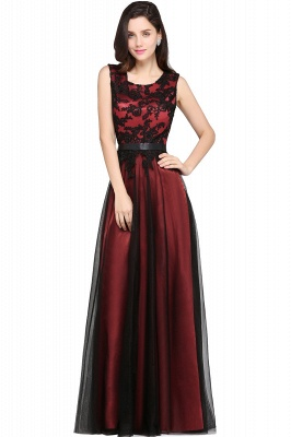 ARABELLA | A-line Scoop Floor Length Lace Cheap Evening Dresses_4