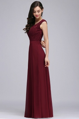 CORINNE | A-line Floor-length Lace Burgundy Elegant Prom Dress_9