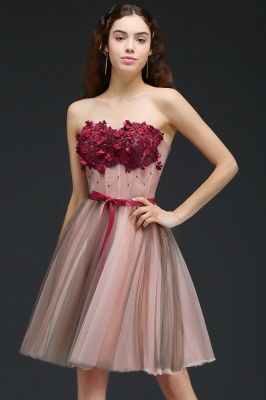CLAUDIA | Princess Strapless Knee-length Tulle Homecoming Dress with a Self-tie Belt_4