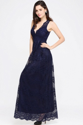 CHAYA | Sheath V-neck Floor-length Lace Navy Blue Prom Dress_12