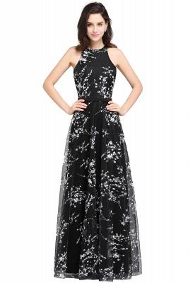 ALYSSA | A-line Floor Length Black Evening Dresses with Flowers_1