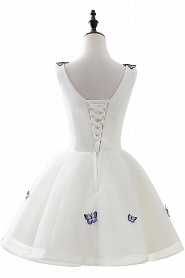 Custom Made A-line Cute White Short Homecoming Dresses With Butterfly_3