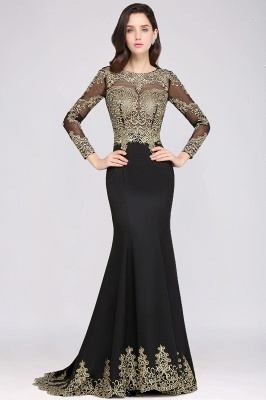 AMANDA | Mermaid Scoop Floor Length Black Elegant Evening Dresses with Appliques_5