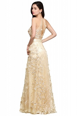 ALIYAH | A-line Floor Length Champagne Evening Dresses with Appliques_3