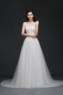 AZARIAH | A-line Strapless Tulle White Wedding Dress With Lace