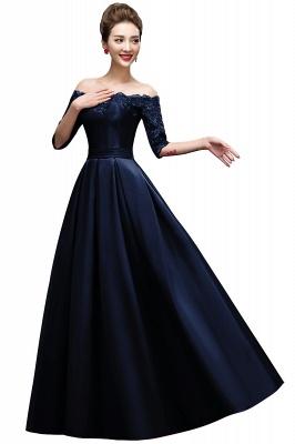 ELLISON | A-line Half Sleeve Floor-length Off-shoulder Appliques Prom Dresses_2
