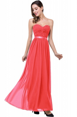 ADELINA | A-line Strapless Chiffon Bridesmaid Dress with Draped_1