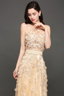 ALIYAH | A-line Floor Length Champagne Evening Dresses with Appliques_7