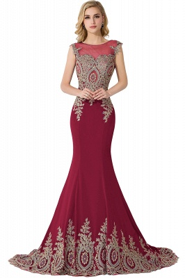 ADALINE | Mermaid Court Train Chiffon Evening Dress with Appliques_3