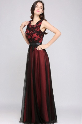 ARABELLA | A-line Scoop Floor Length Lace Cheap Evening Dresses_7