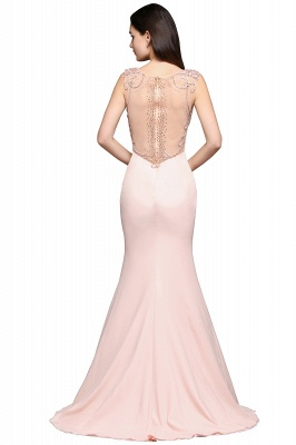 ALIZA | Mermaid Sweep Train Pearl Pink Prom Dresses with Crystal_3
