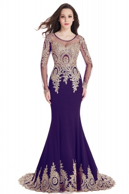 Crystal | Sexy Mermaid Lace Appliques Long Sleeves Prom Dresses with Beadings_3