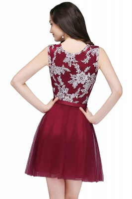 CARMEN | A-line Short Pink Tulle Homecoming Dresses with Lace Appliques_5