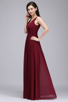 ALEXA | Sheath V Neck Burgundy Chiffon Long Evening Dresses_3