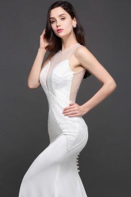 AVERY | Mermaid Scoop Chiffon White Evening Dress With Beadings_10
