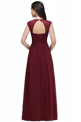 ALISON | Sheath V Neck Burgundy Chiffon Long Evening Dresses With Beads_10