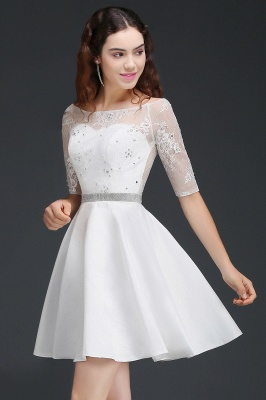 ALICIA | A Line Jewel White Short Sleeve Satin Homecoming Dresses With Lace_4