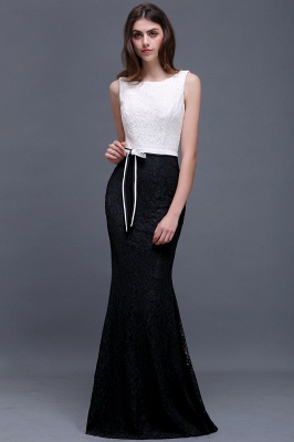 BAILEY | Sheath Scoop Floor-Length Lace White And Black Prom Dresses_4