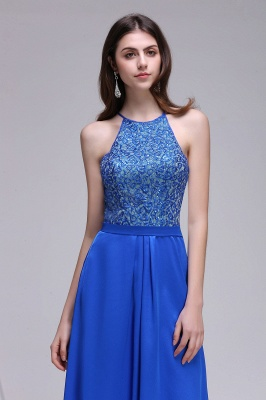CALLIE   A-line Halter Neck Chiffon Royal Blue Prom Dresses with Sequins_5
