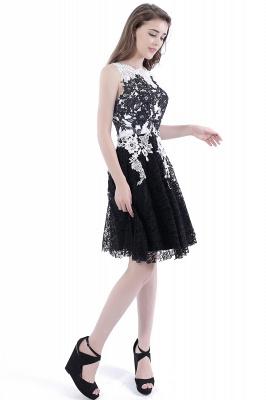 DAHLIA | Short Sheath Sleeveless Black Lace Prom Dresses_5