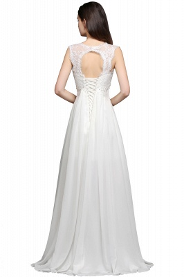 AYLA | A-line Sweetheart Chiffon White Evening Dress With Lace_3