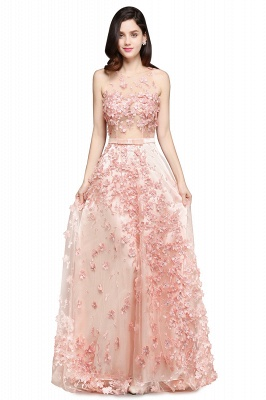 ALLY | A-line Floor Length Pearl Pink Evening Dresses with Appliques_1