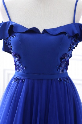 CHANEL | Ball Gown Off-the-shoulder Floor-length Blue Tulle Prom Dress_9