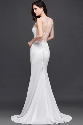 AVERY | Mermaid Scoop Chiffon White Evening Dress With Beadings_7