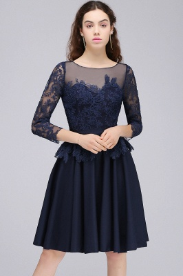 CARA | A-line Sheer Neck Short Dark Navy Homecoming Dresses with Lace Appliques_4