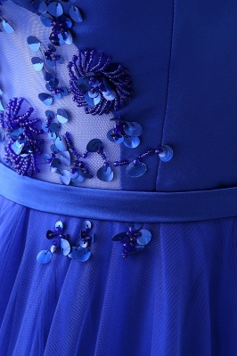 CHANEL | Ball Gown Off-the-shoulder Floor-length Blue Tulle Prom Dress_11