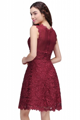 BRIA | A-Line Round Neck Short Burgundy Lace Homecoming Dresses_3