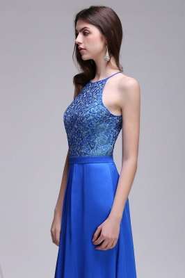CALLIE   A-line Halter Neck Chiffon Royal Blue Prom Dresses with Sequins_4