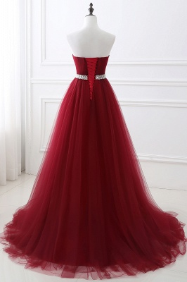 Custom Made Fluffy Tulle A-line Sweetheart Burgundy Prom Dresses Cheap With Beads Belt_9