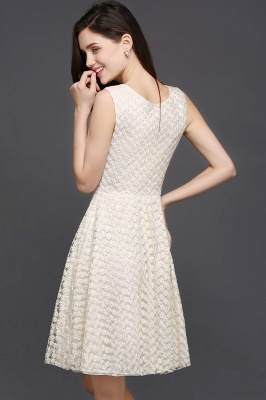 CHRISTINE | Princess Scoop neck Knee-length Lace Sexy Prom Dress_7